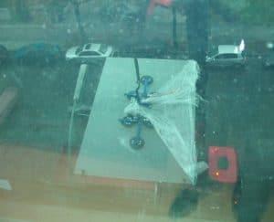 Teleskopschiebetür Montage Glasscheibe